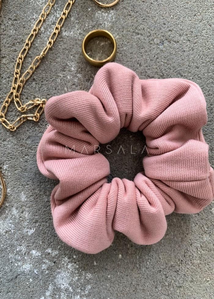 Gumka/frotka do włosów z dzianiny dresowej dusty pink - EMI by Marsala