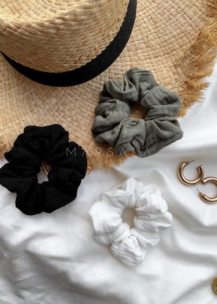 Gumka/frotka do włosów z muślinu bawełnianego w kolorze czarnym EMI by MARSALA