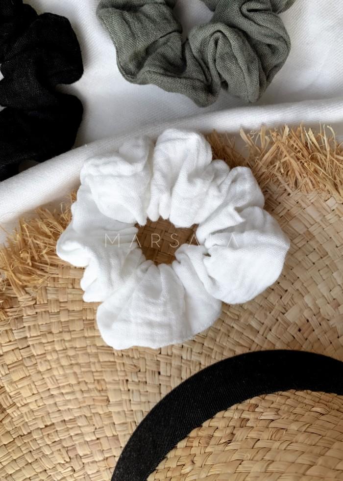 Gumka/frotka do włosów z muślinu bawełnianego w kolorze ecru EMI by MARSALA