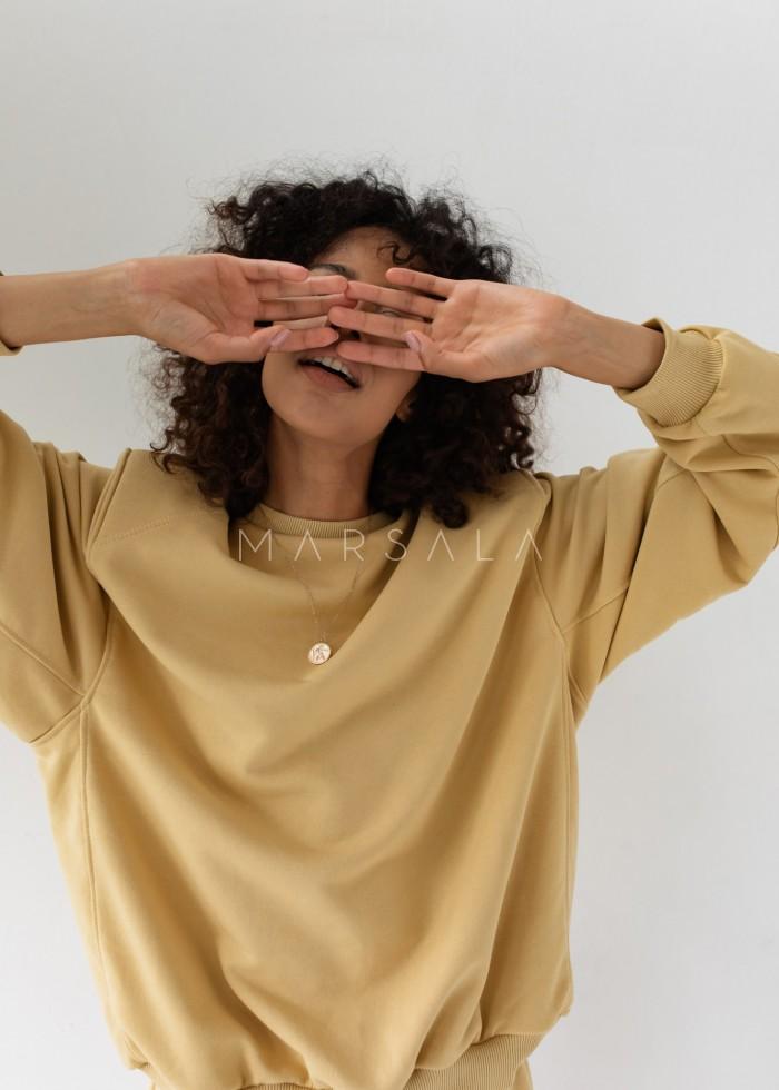 Women's shoulder pad blouse in HAZELNUT - AMBIENT BY MARSALA