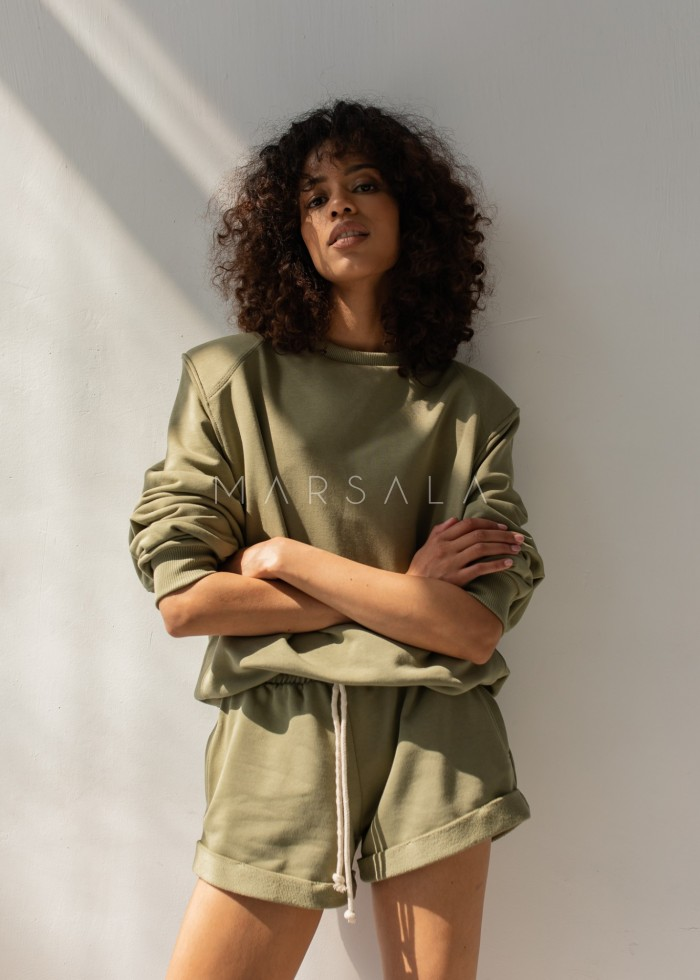 Women's shoulder pad blouse in SMOKE GREEN - AMBIENT BY MARSALA