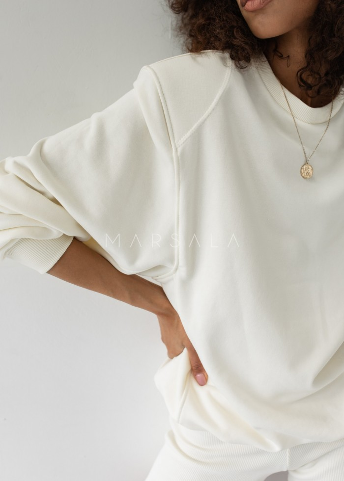 Women's shoulder pad blouse in CLOUD WHITE - AMBIENT BY MARSALA