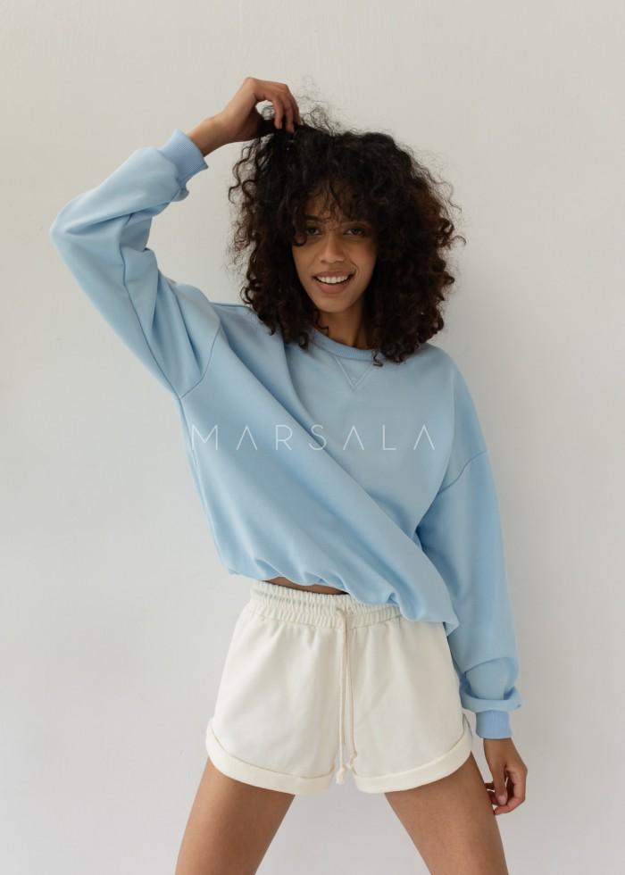 Regular fit women's sweatshirt SKY BLUE - BASKET BY MARSALA