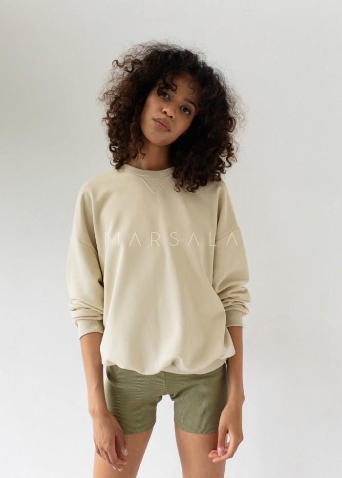 Regular fit women's sweatshirt CANNOLI CREAM - BASKET BY MARSALA