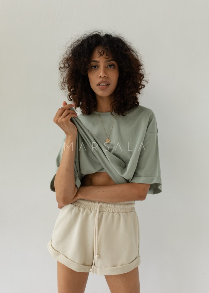 Oversized T-shirt in MINT GREEN- COY BY MARSALA