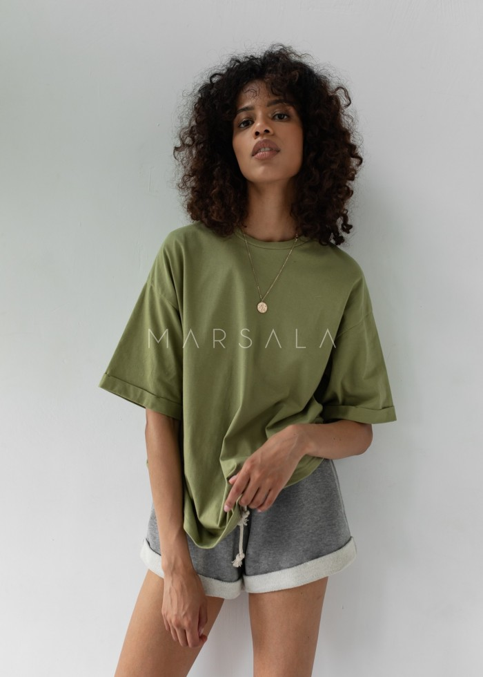 Oversized T-shirt in OLIVE BRANCH- COY BY MARSALA