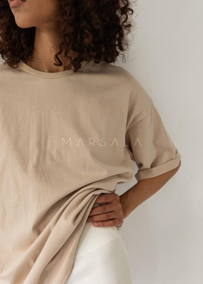 T-shirt typu oversize w kolorze CLASSIC BEIGE - COY BY MARSALA