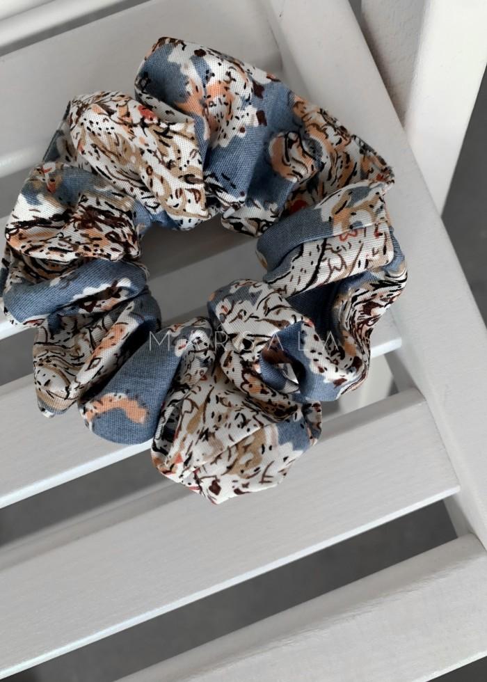 Gumka/frotka do włosów błękitna z wzorem paisley EMI by MARSALA