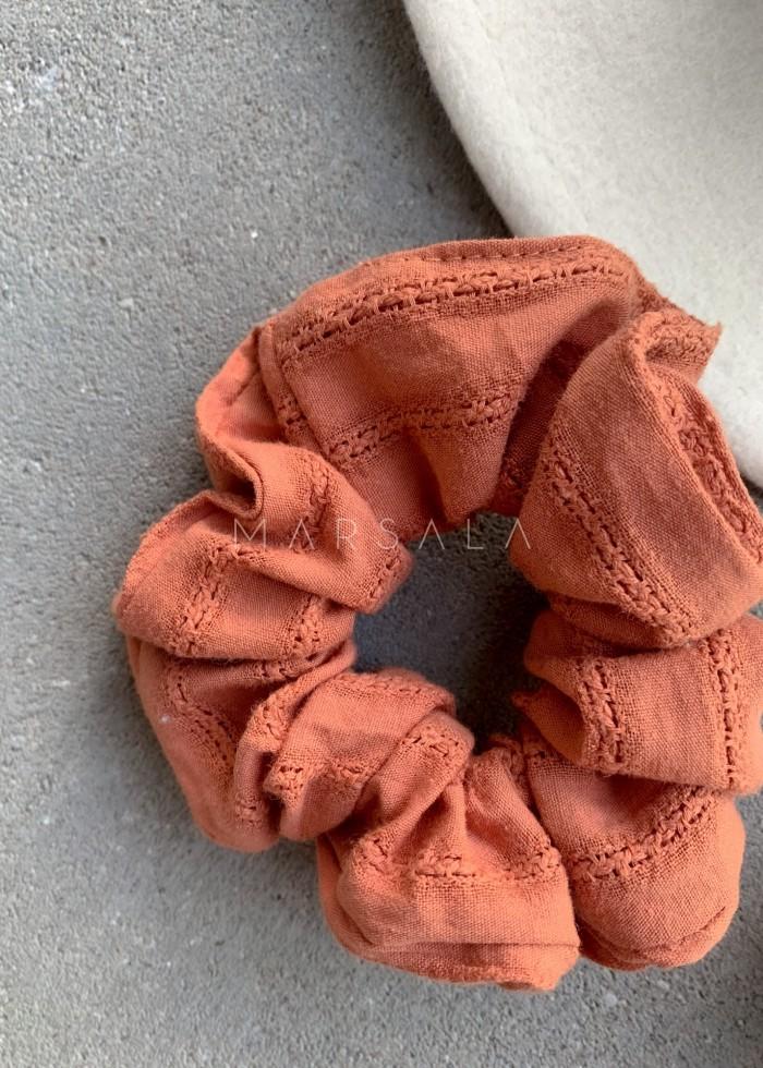 Gumka/frotka do włosów ceglana strukturalna EMI by MARSALA