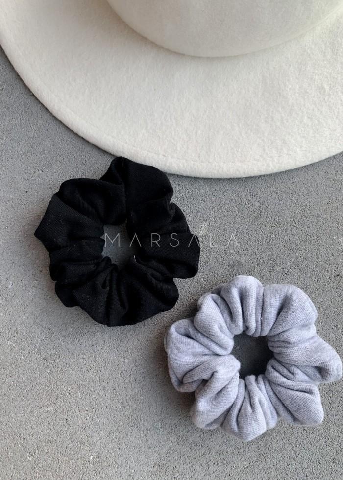 Gumka/frotka do włosów z cienkiej dzianiny w kolorze czarnym EMI by MARSALA