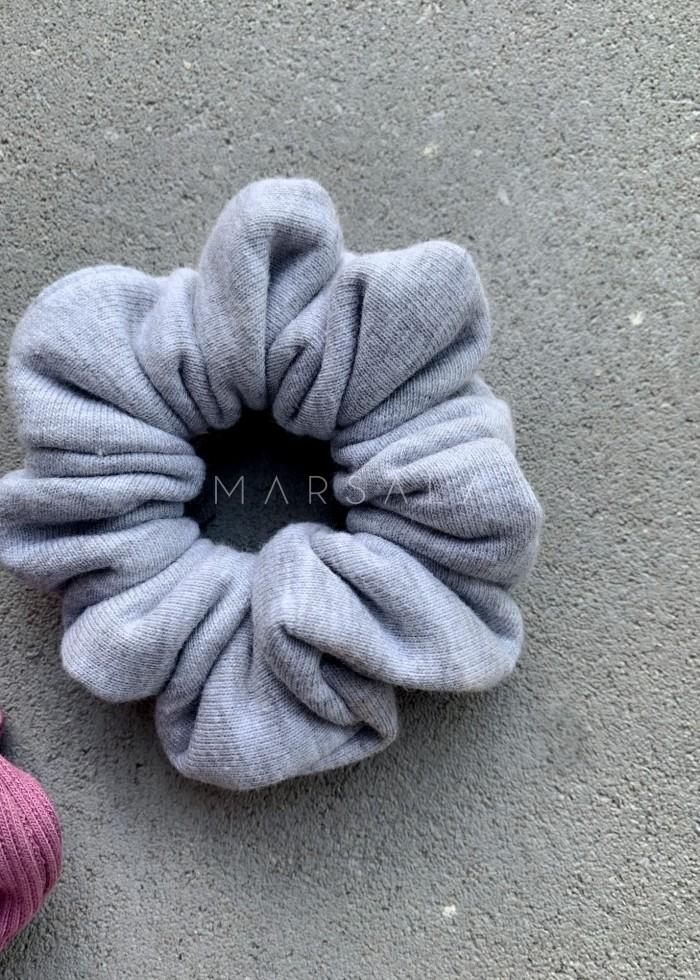 Gumka/frotka do włosów z dzianiny dresowej w kolorze grey melange EMI by MARSALA