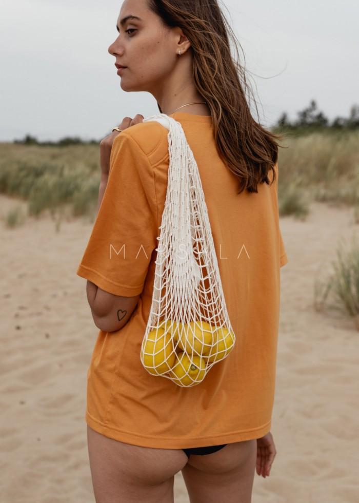 T-shirt damski z poduszkami na ramionach w kolorze LIGHT PEACH - SPECTRE BY MARSALA