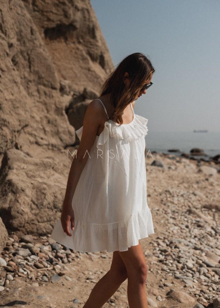 Sukienka z tkaniny plumeti w kolorze ecru - MALIBU BY MARSALA