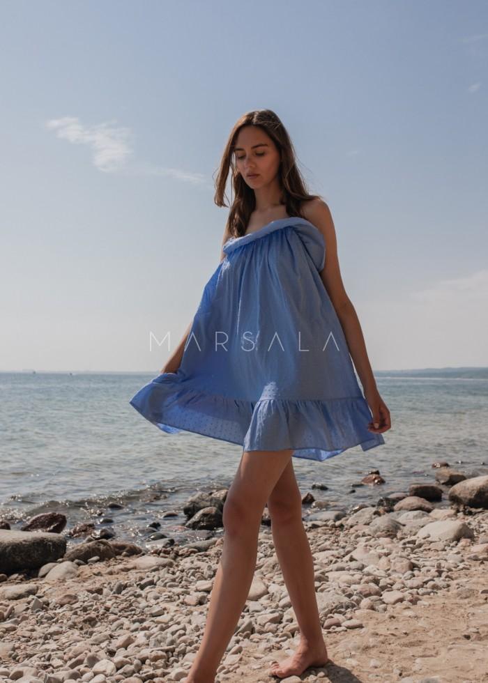 Sukienka z tkaniny plumeti w kolorze błękitnym - MALIBU BY MARSALA