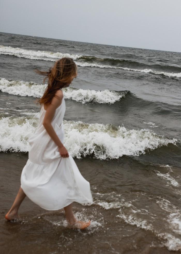Długa sukienka z muślinu bawełnianego w kolorze ecru - CALMA MAXI BY MARSALA