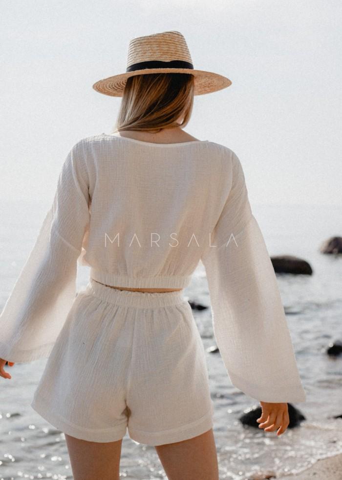 Bluzka z muślinu bawełnianego w kolorze ecru - SOLEO BY MARSALA