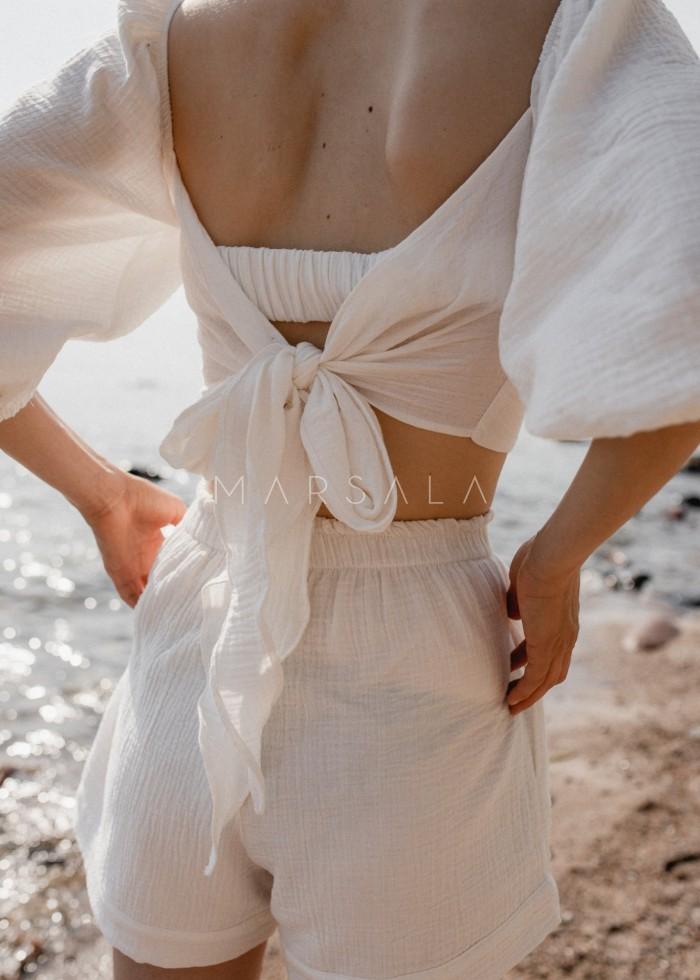 Bluzka crop z wycięciami i wiązaniem na plecach z muślinu bawełnianego ecru - PORTO BY MARSALA
