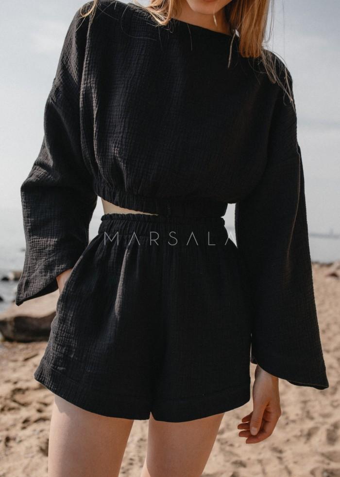 Bluzka z muślinu bawełnianego w kolorze czarnym - SOLEO BY MARSALA
