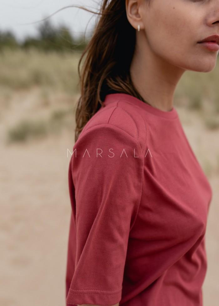 T-shirt damski z poduszkami na ramionach w kolorze RUBY WINE - SPECTRE BY MARSALA