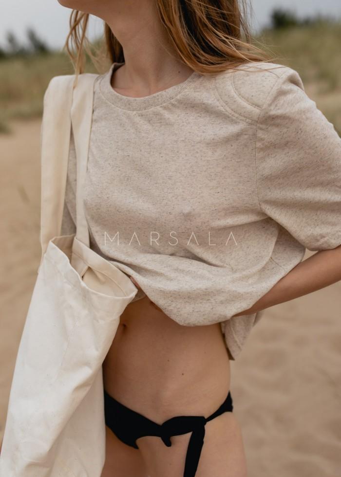 T-shirt damski z poduszkami na ramionach w kolorze BEIGE z dodatkiem konopii - SPECTRE KONOPIA BY MARSALA