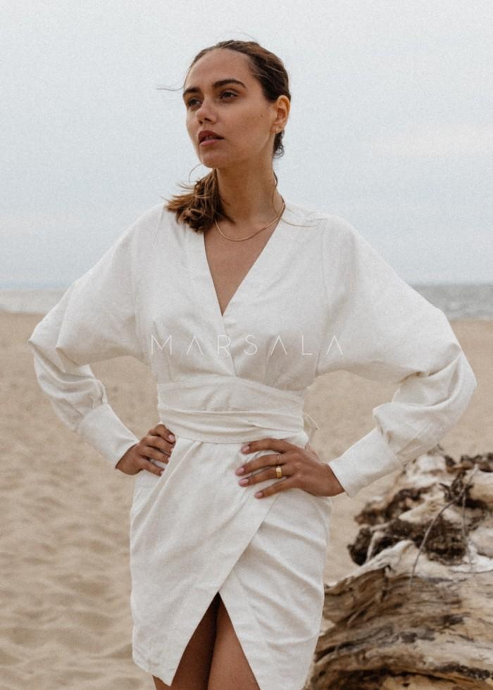 Elegancka sukienka lniana na zakładkę - SENTIMA BY MARSALA