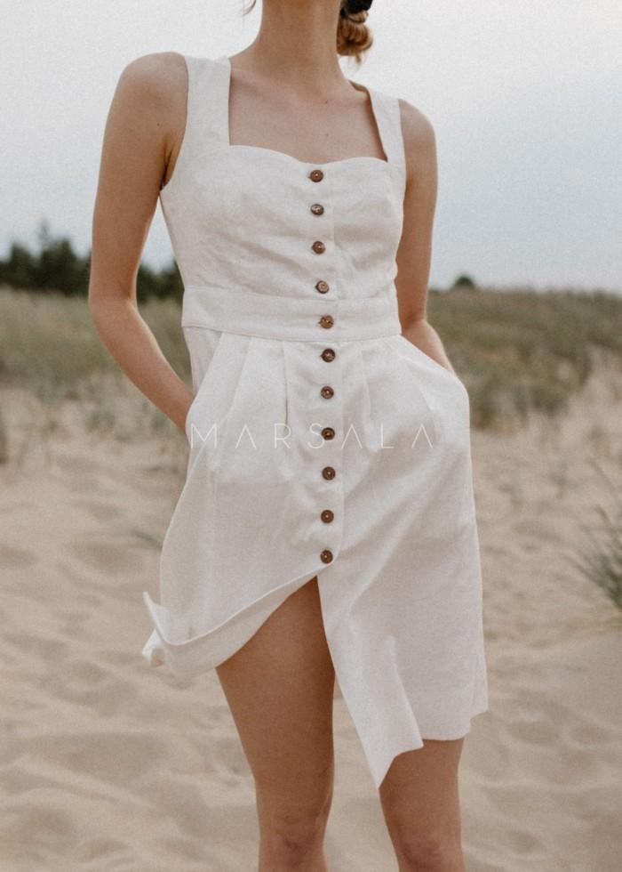 Sukienka lniana długości midi na guziki - PICANTE BY MARSALA