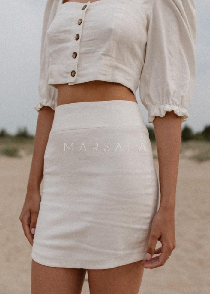 Lniana spódnica mini o dopasowanym kroju - SUERTE BY MARSALA