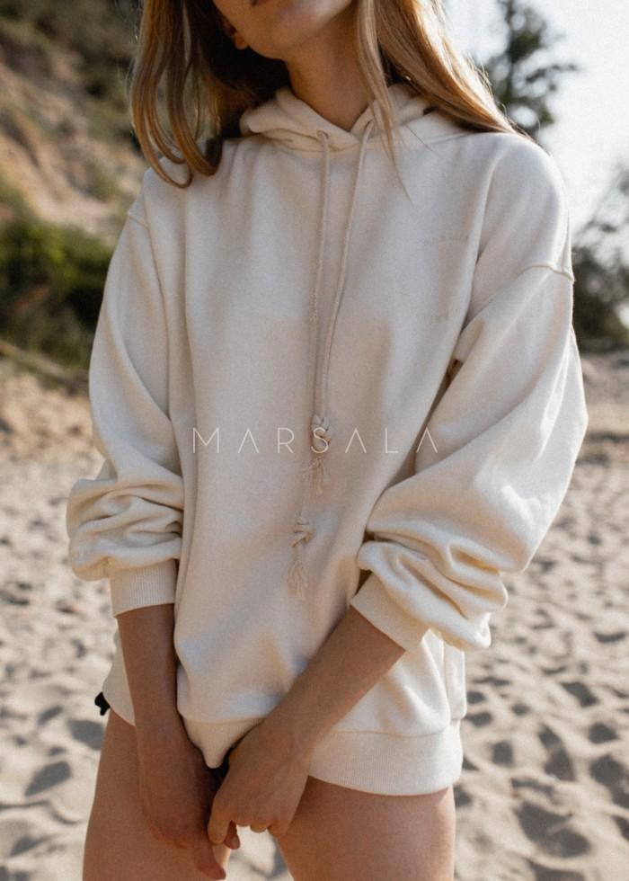 CLOUD WHITE - CHILLIN BY MARSALA hooded sweatshirt for women