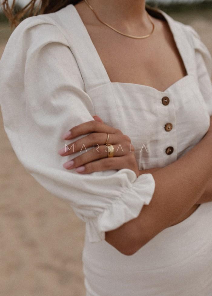Bluzka w stylu boho wykonana z lnu w kolorze ecru - FRESA BY MARSALA