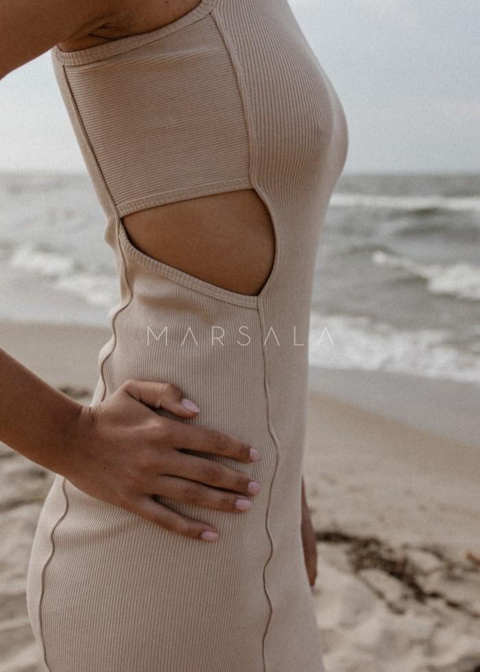 Sukienka z prążkowanego materiału z wycięciami BEIGE- SEVILLA BY MARSALA