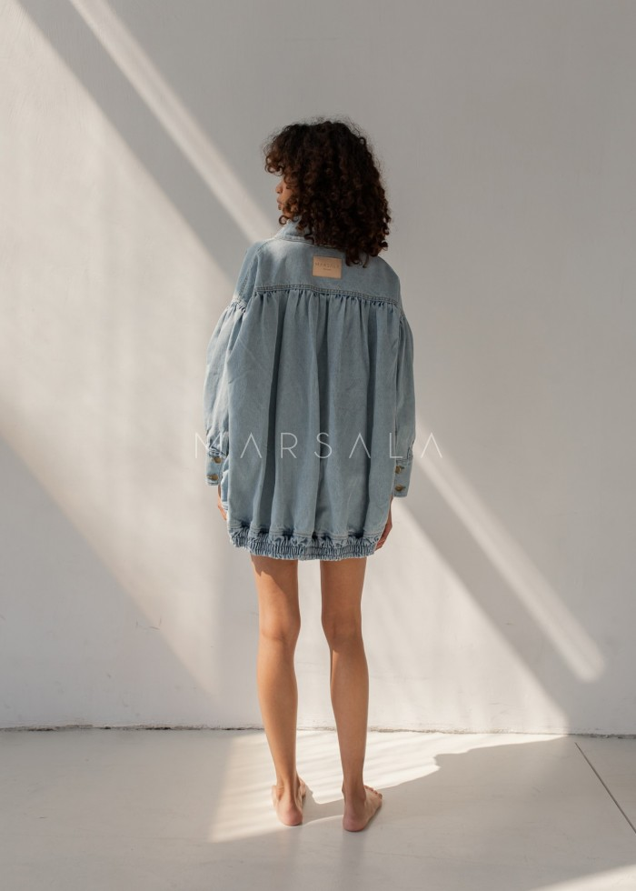 Oversized denim jacket with ruffles - CHILL DENIM JACKET BY MARSALA