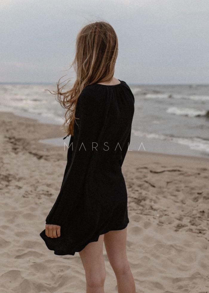 Sukienka/tunika oversize z muślinu bawełnianego w kolorze czarnym - BALM BY MARSALA