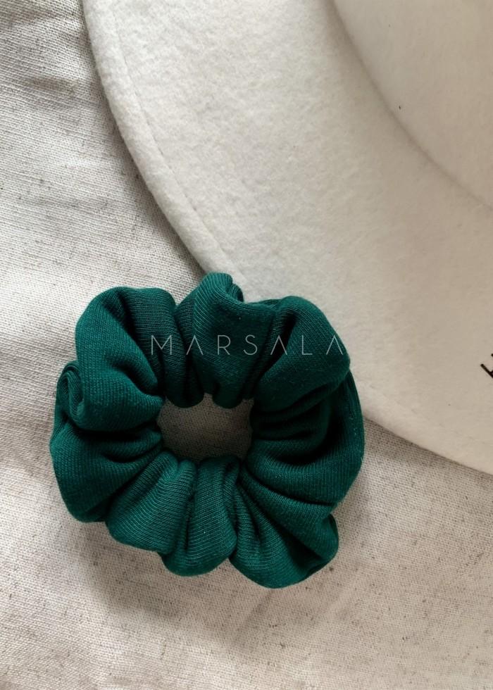 Gumka/frotka do włosów z dzianiny dresowej w kolorze deep forest green EMI by MARSALA