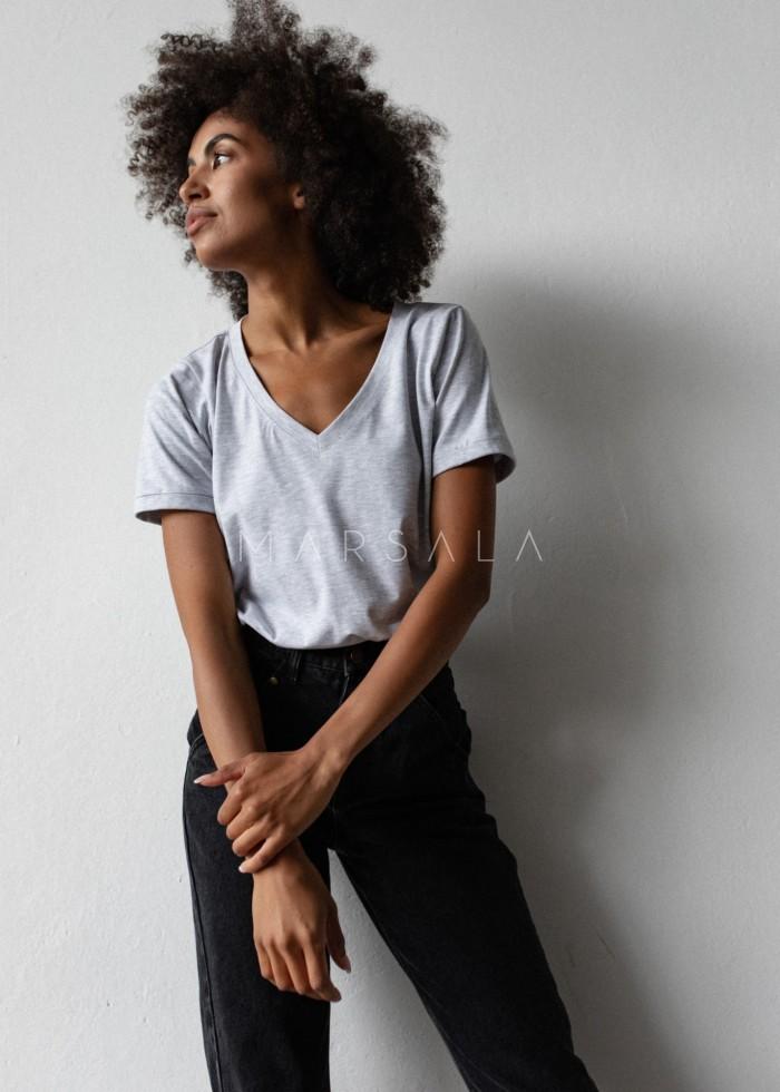T shirt V NECK BASIC grey