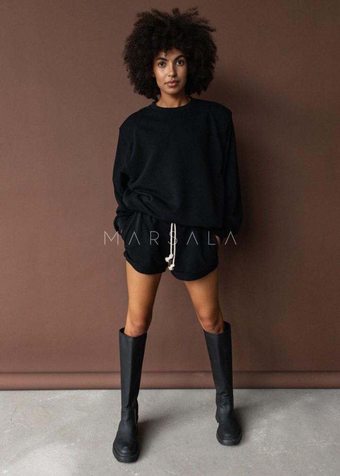 Bluza damska z poduszkami na ramionach w kolorze TOTALLY BLACK - AMBIENT BY MARSALA