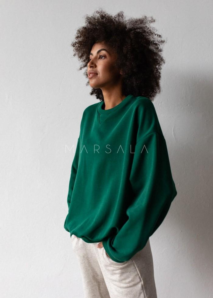 Bluza damska o kroju regular fit w kolorze DEEP FOREST GREEN - BASKET BY MARSALA
