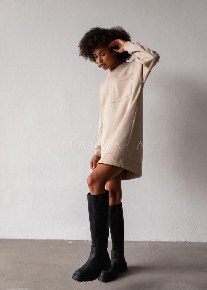 Długa bluza o kroju oversize z kieszonką w kolorze BEIGE - BRESSO BY MARSALA