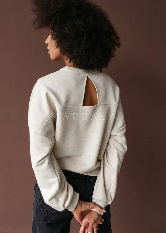 Bluza damska typu regular fit z wycięciem na plecach BEIGE z tkaniny bawełnianej z LNEM - BROOKLYN BY MARSALA