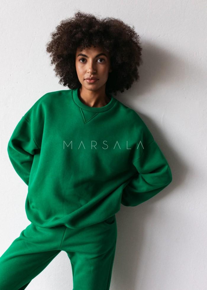 Bluza damska o kroju regular fit w kolorze POISON GREEN- BASKET BY MARSALA