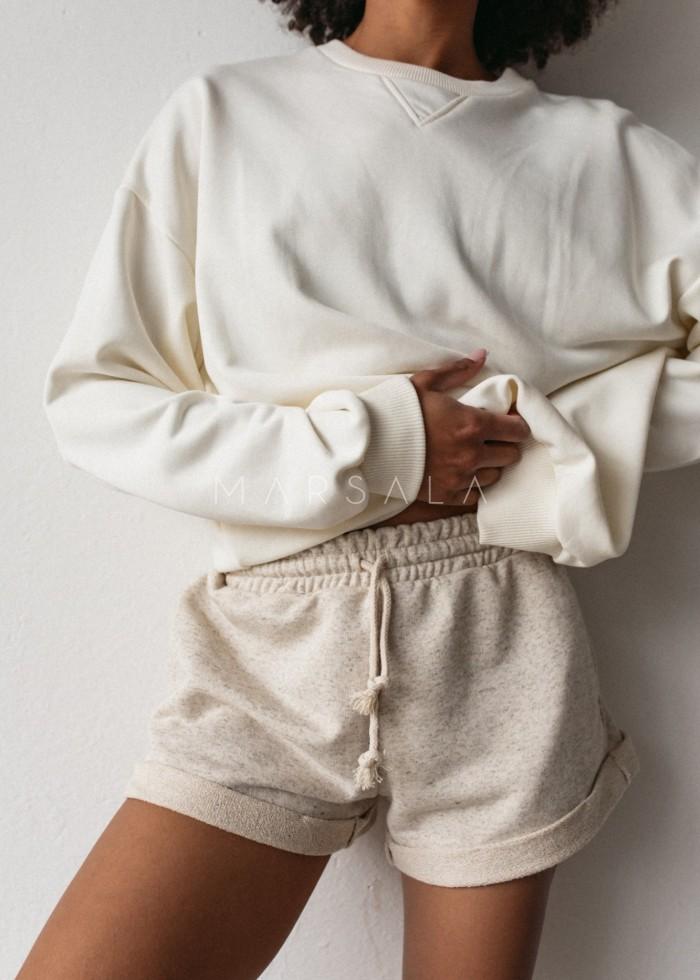 Bluza damska o kroju regular fit w kolorze CLOUD WHITE - BASKET BY MARSALA