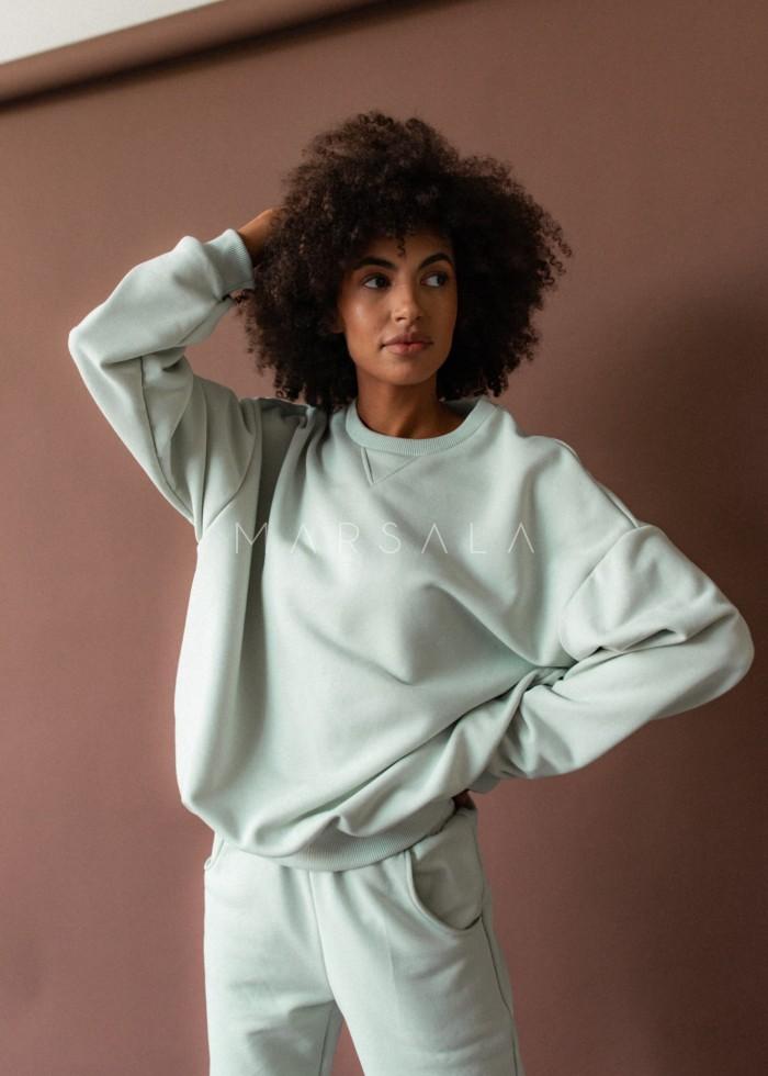 Bluza damska o kroju regular fit w kolorze MILKY GREEN - BASKET BY MARSALA