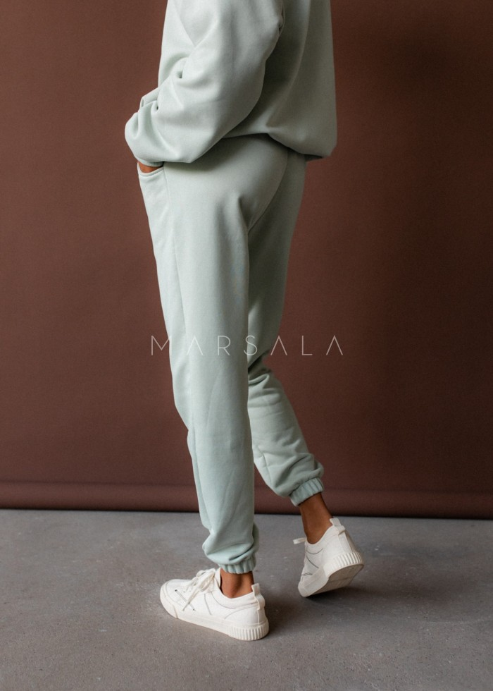 Jogger pants in MILKY GREEN - DISPLAY BY MARSALA