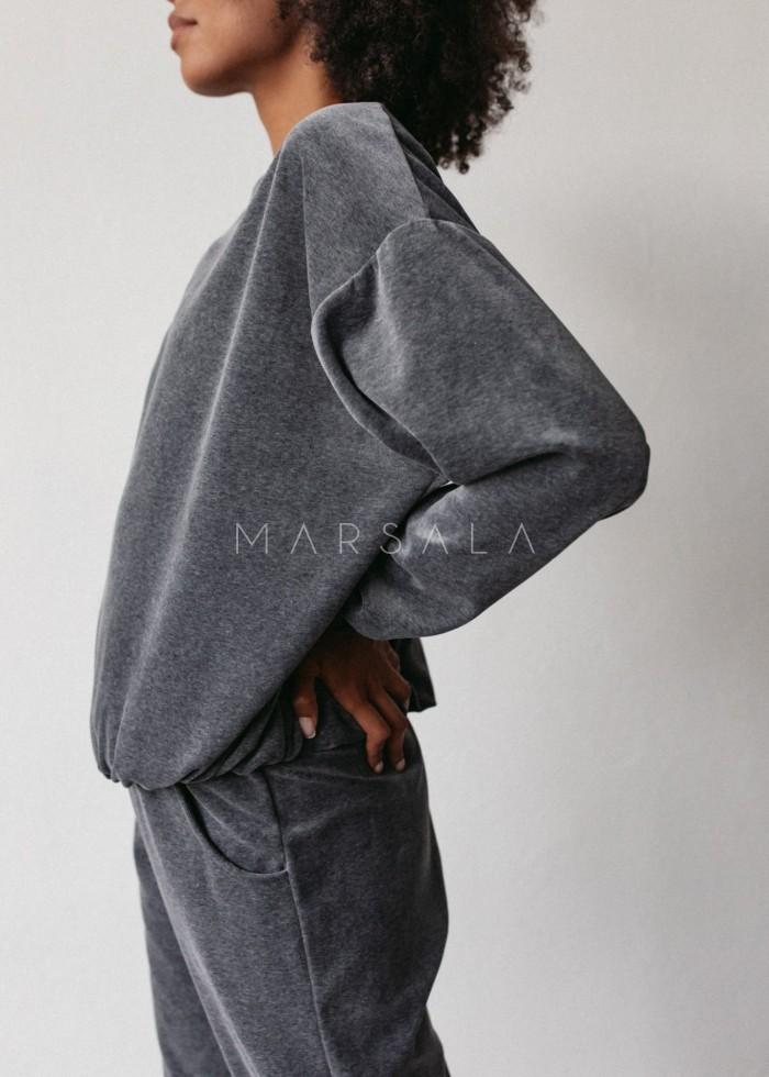 Gładka bluza wykonana z weluru w kolorze GRAFITOWYM - CORBY VELVET BY MARSALA