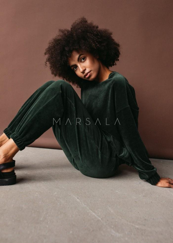 Gładka bluza wykonana z weluru w kolorze CIEMNOZIELONYM - CORBY VELVET BY MARSALA