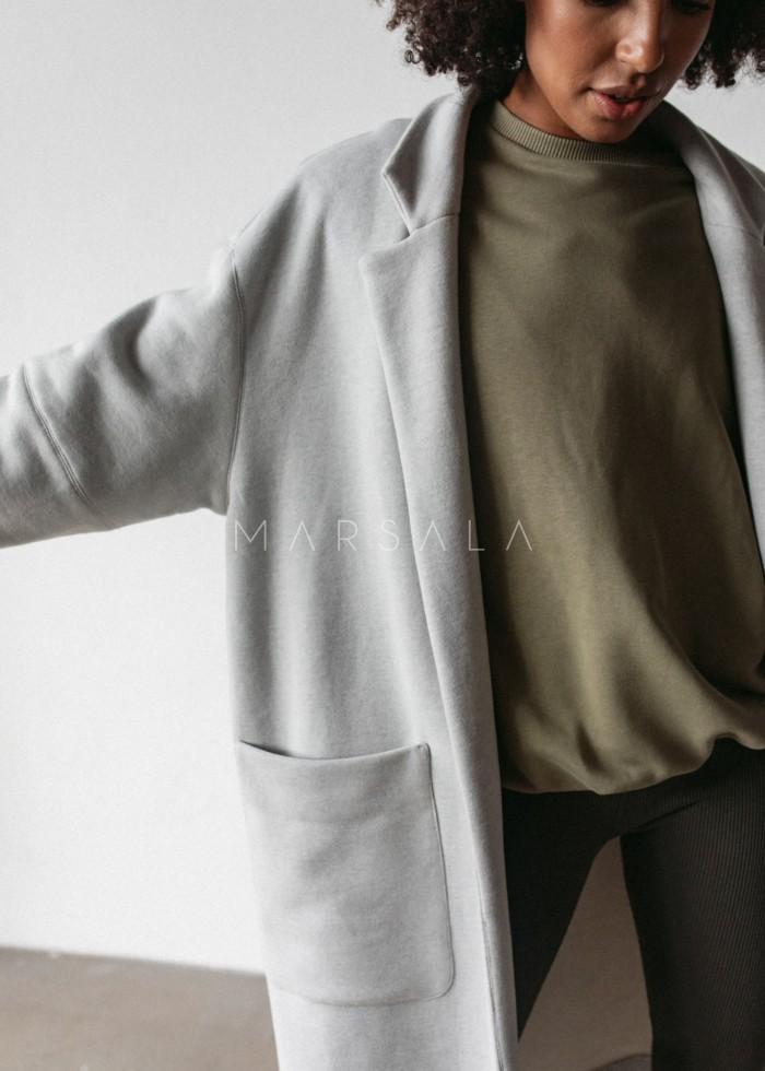 Płaszcz typu oversize z miękkiej dzianiny dresowej w kolorze szary melanż - GHOST BY MARSALA