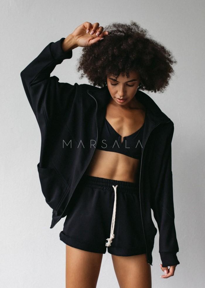 Bluza damska rozpinana w kolorze czarnym z poduszkami na ramionach - RODAN BY MARSALA