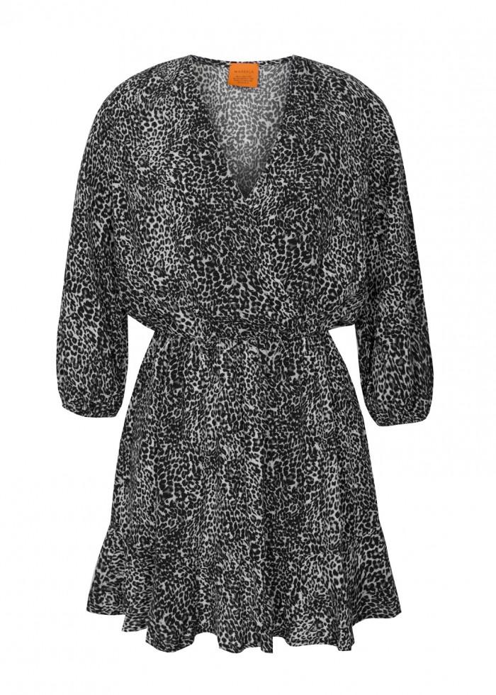 Sukienka z dekoltem na zakładkę z wiskozy w panterkę - BIRMA BY MARSALA