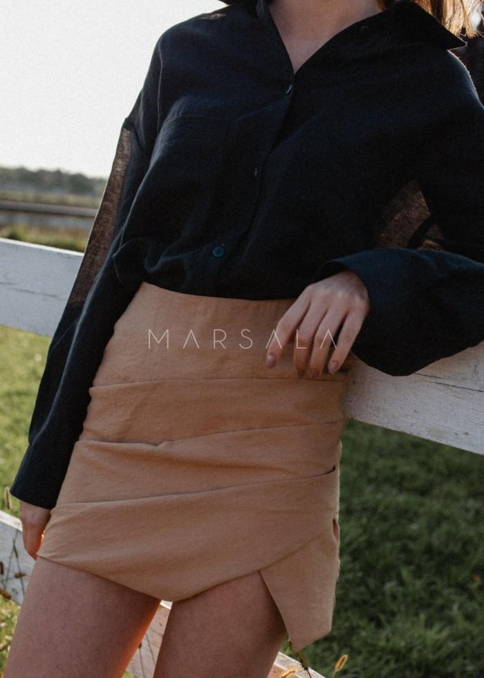 Spódniczka mini w kolorze kamelowym z drapowaniem - LORIENT BY MARSALA