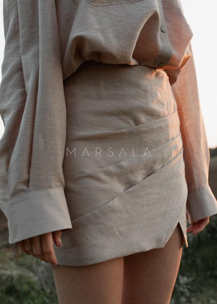 Spódniczka mini w kolorze beżowym z drapowaniem - LORIENT BY MARSALA