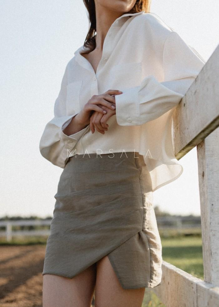 Spódniczka mini w kolorze khaki z drapowaniem - LORIENT BY MARSALA
